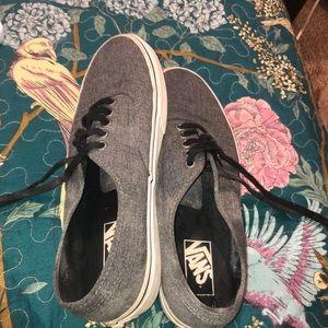 Black laced, Gray base Van sneakers.
